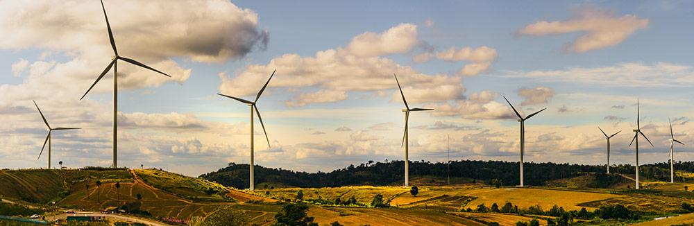 Wind energy turbines producing green energy